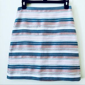 LOFT | Woven Textured Knit Striped Pencil Skirt